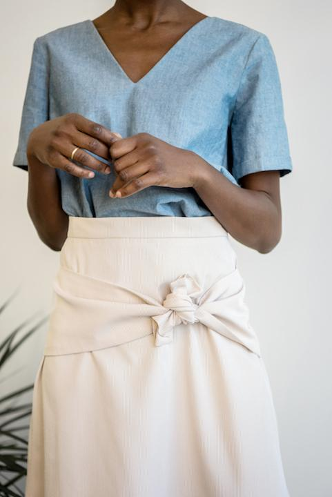 Knotted A-Line Skirt