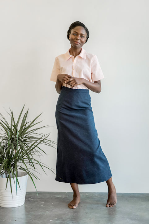 Slub Pencil Skirt