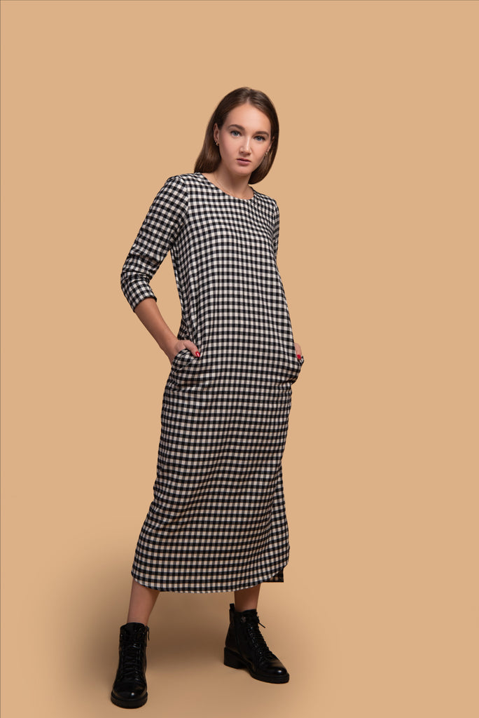 Flannel Gingham Midi Dress