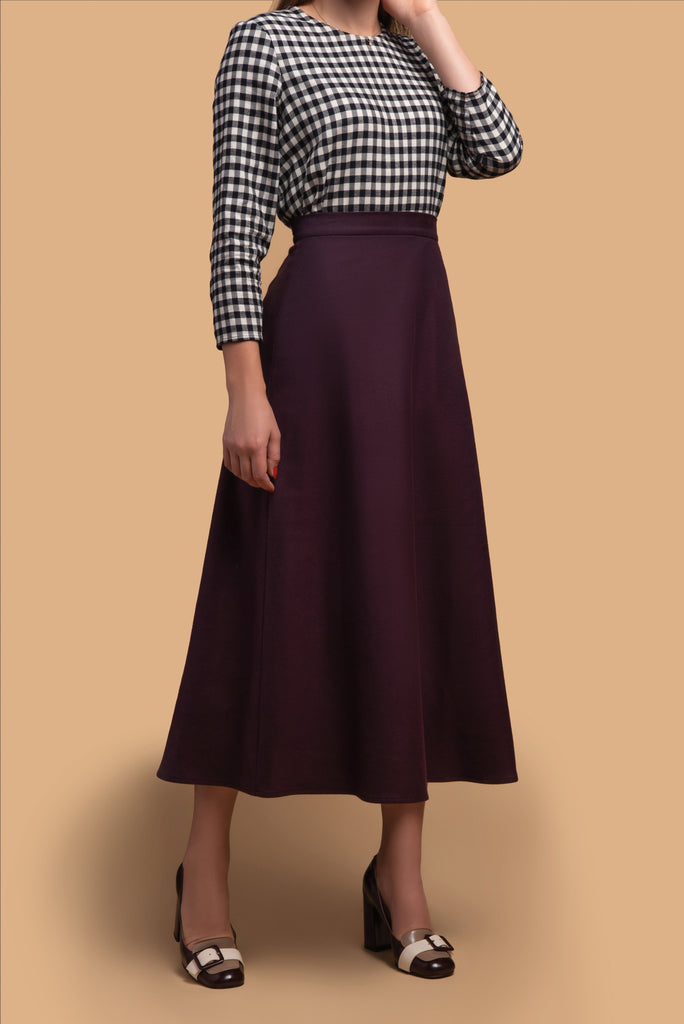 A-Line Flannel Midi Skirt