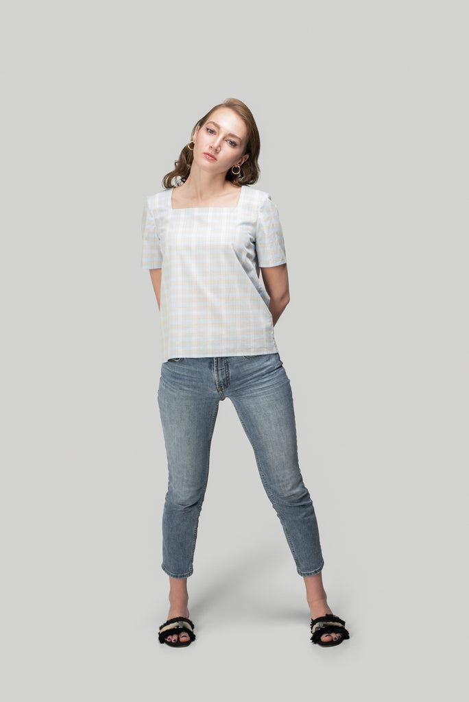 Plaid Square-Neck Shirt