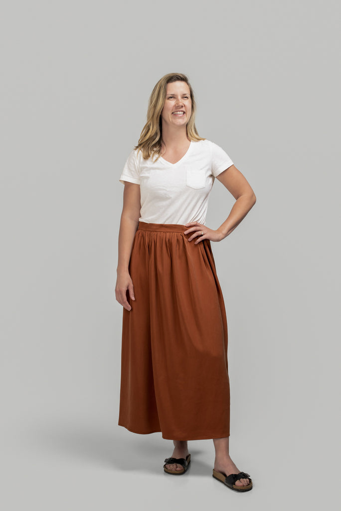 Gathered Midi Skirt