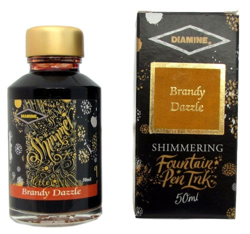 Diamine Brandy Dazzle Shimmer Fountain Pen Ink -50ml