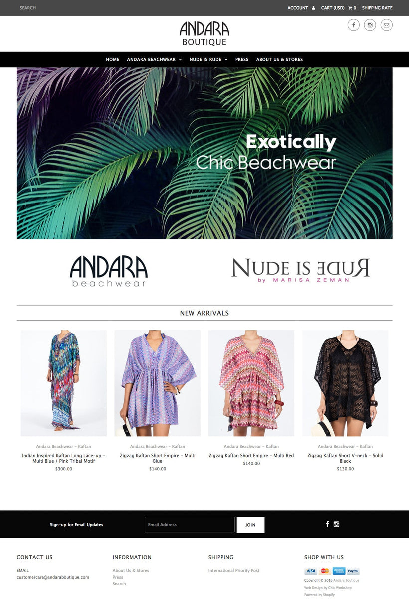 Andara Boutique Shopify Store