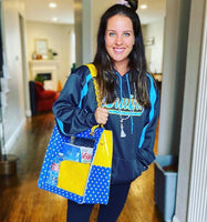 SCORE!'s Andrea Clear Shoulder bag Tailgate Tote in Royal blue and Gold Yellow For Teams in NBA Golden State, Oklahoma City Thunder, Denver Nuggets, NFL Los Angeles Chargers, Los Angeles Rams, MLB Milwaukee Brewers, UCLA Bruins