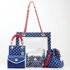 Navy Blue white and red