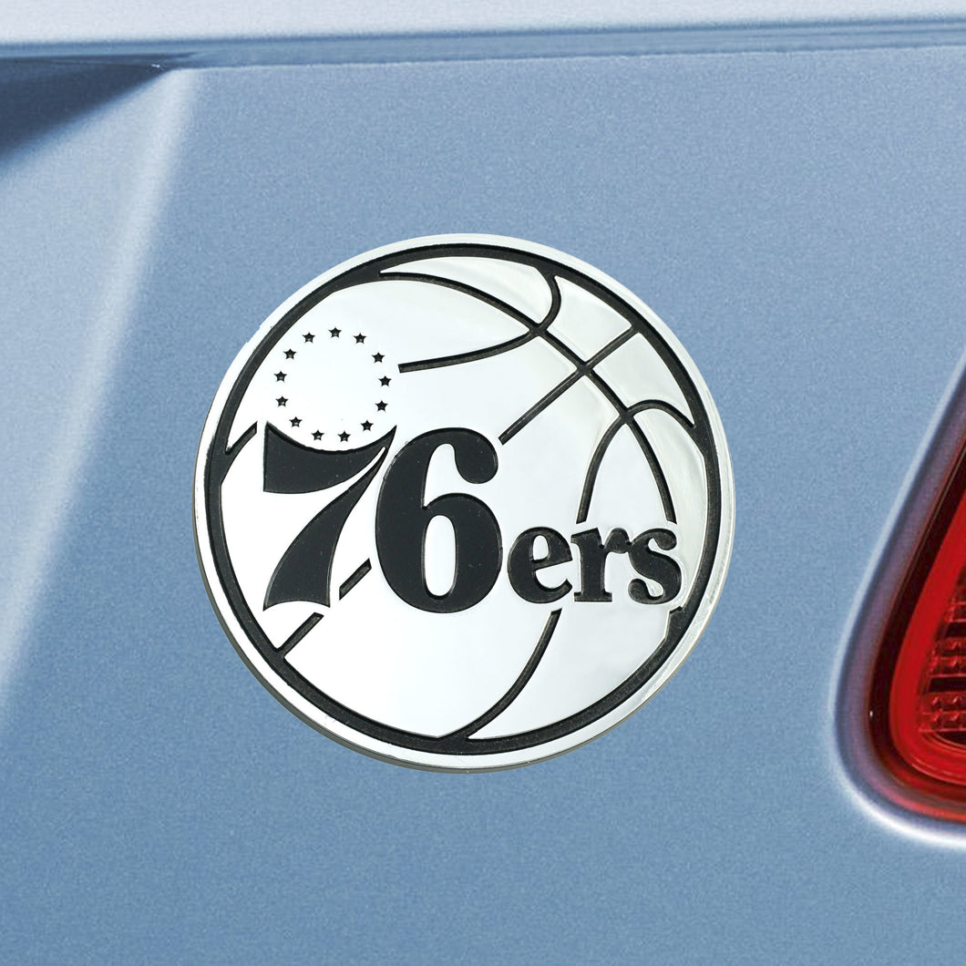 Philadelphia 76ers NBA Chrome Auto Emblem ~ 3-D Metal