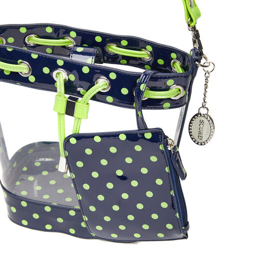 SCORE! Clear Sarah Jean Designer Crossbody Polka Dot Boho Bucket Bag-Navy Blue and Lime Green