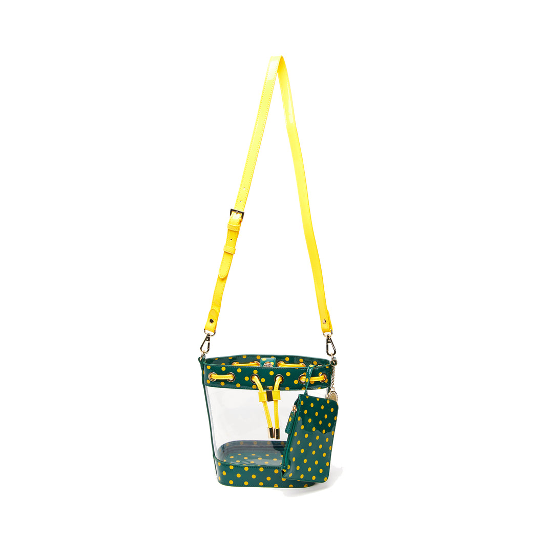 SCORE! Clear Sarah Jean Designer Crossbody Polka Dot Boho Bucket Bag-Green and Gold