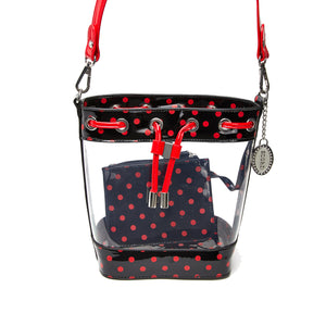 SCORE! Clear Sarah Jean Designer Crossbody Polka Dot Boho Bucket Bag- Black and Red