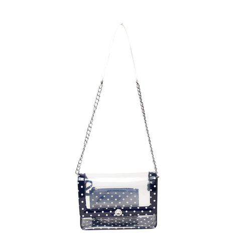 SCORE! Chrissy Medium Designer Clear Cross-body Bag -Navy Blue and White