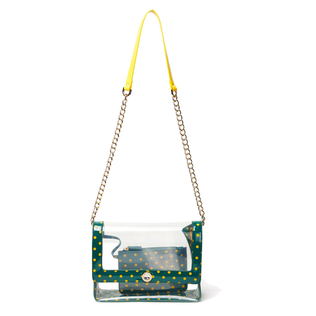 SCORE! Chrissy Medium Designer Clear Cross-body Bag - Forest Green and Yellow Gold