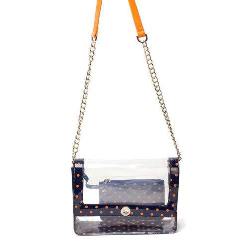 Chrissy Medium Clear Game Day Handbag - Navy Blue and Orange
