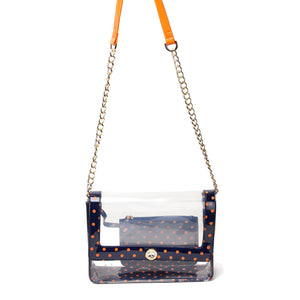 SCORE! Chrissy Medium Designer Clear Cross-body Bag -Navy Blue and Orange