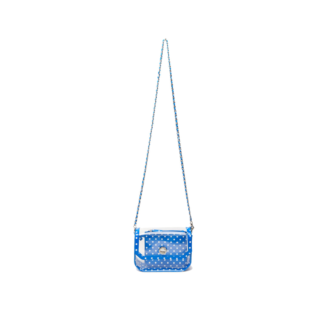 SCORE! Chrissy Small Designer Clear Crossbody Bag - Royal Blue and White