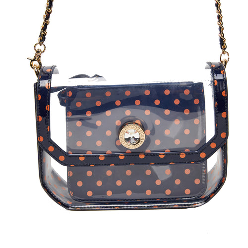 SCORE! Chrissy Small Designer Clear Crossbody Bag - Blue and Orange
