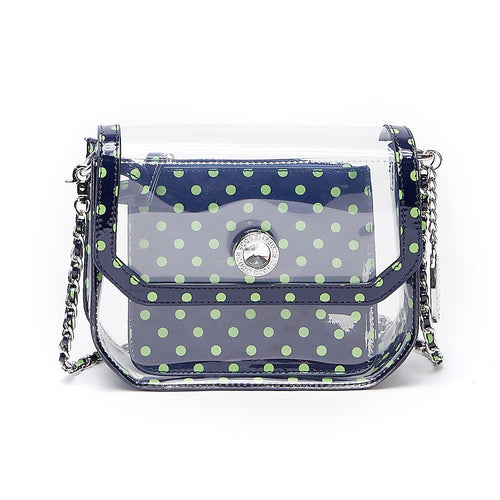 Chrissy Small Clear Game Day Handbag - Navy Blue and Lime Green