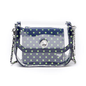 SCORE! Chrissy Small Designer Clear Crossbody Bag - Navy Blue and Lime Green