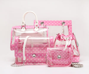 SCORE! Chrissy Small Designer Clear Crossbody Bag- Pink and White
