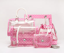 SCORE! Moniqua Large Designer Clear Crossbody Satchel - Pink and White