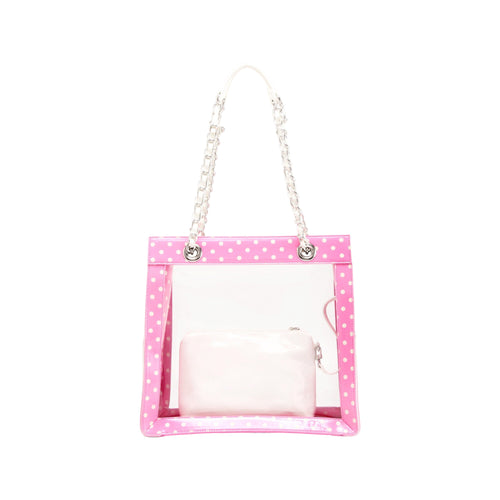SCORE! Andrea Large Clear Designer Tote for School, Work, Travel - Pink and White