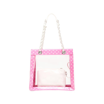 Andrea Clear Tailgate Tote - Aurora Pink and White