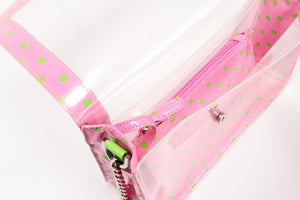SCORE! Chrissy Medium Designer Clear Cross-body Bag -Pink and Lime Green