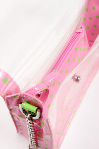 Chrissy Medium Clear Cross-body Game Day Bag - Pink and Green AKA & DZ