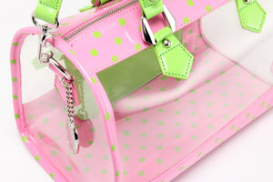SCORE! Moniqua Large Designer Clear Crossbody Satchel - Pink and Lime Green