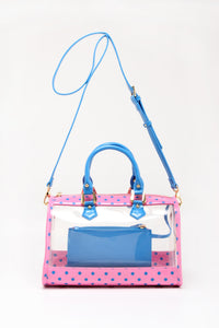Moniqua Clear Satchel - Pink and French Blue