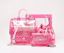 SCORE! Andrea Large Clear Designer Tote for School, Work, or Travel - Fandango Pink and Light Pink