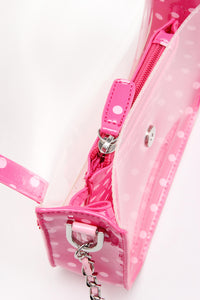SCORE! Chrissy Small Designer Clear Crossbody Bag - Fandango Hot Pink and Light Pink
