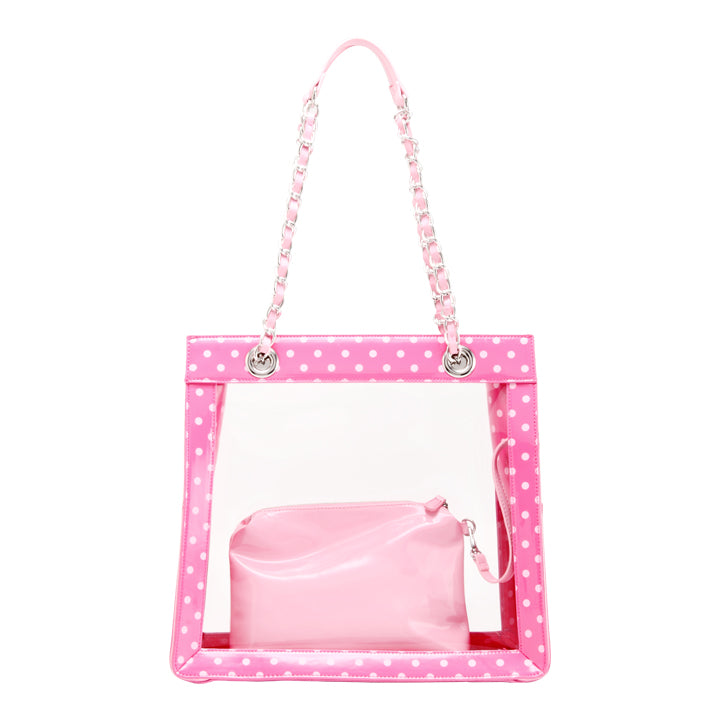 Andrea Clear Tailgate Tote - Fandango Pink and Light Pink