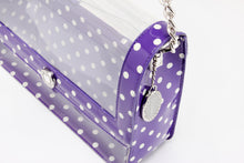SCORE! Chrissy Medium Designer Clear Cross-body Bag -Royal Purple and White