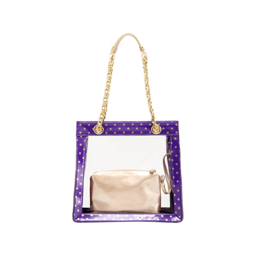 SCORE! Andrea Large Clear Designer Tote for School, Work, Travel - Royal Purple and Gold Gold