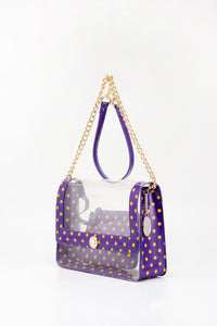 Chrissy Medium Clear Game Day Handbag - Royal Purple and  Yellow Gold