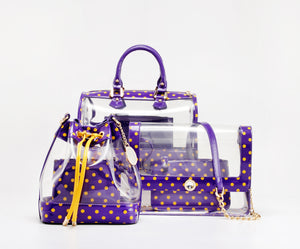 SCORE! Clear Sarah Jean Designer Stadium Shoulder Crossbody Purse Polka Dot Boho Bucket Game Day Bag Tote - Purple and Gold Yellow
