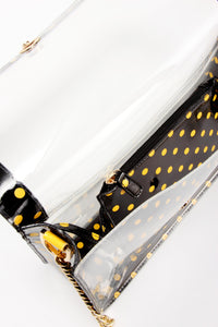 SCORE! Chrissy Medium Designer Clear Cross-body Bag -Black and  Yellow Gold