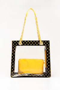 SCORE! Andrea Large Clear Designer Tote for School, Work, Travel - Black and Gold Yellow