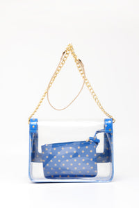 SCORE! Chrissy Medium Designer Clear Cross-body Bag -Imperial Blue and Metallic Gold