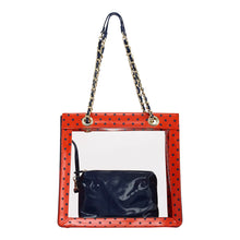 SCORE! Andrea Large Clear Designer Tote for School, Work, Travel - Orange and Navy Blue