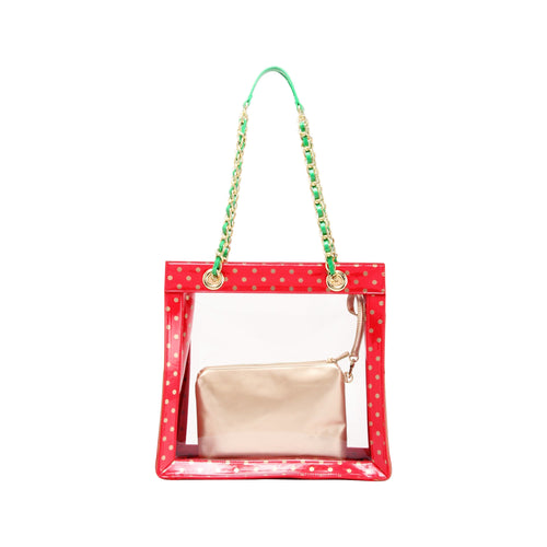 SCORE! Andrea Large Clear Designer Tote for School, Work, Travel- Racing Red, Metallic Gold and Fern Green