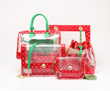 SCORE! Moniqua Large Designer Clear Crossbody Satchel - Red, Gold and Green
