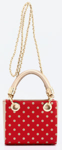 SCORE! Jacqui Classic Designer Stadium Approved Top Handle Satchel Polka Dot Detachable Chain Crossbody Square Game Day Bag Event Team Sorority Purse - Red and Gold