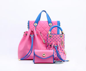 SCORE! Sarah Jean Small Crossbody Polka dot BoHo Bucket Bag  - Pink and Blue Delta Gamma