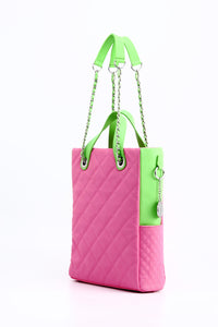 SCORE!'s Kat Travel Tote for Business, Work, or School Quilted Shoulder Bag - Pink and Lime Green