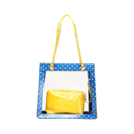 Andrea Clear Tailgate Tote - Imperial Blue and  Yellow Gold