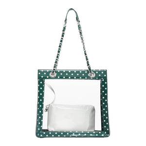 Andrea Clear Tailgate Tote - Forest Green and White