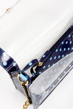 SCORE! Chrissy Medium Designer Clear Cross-body Bag -Navy Blue and Light Blue