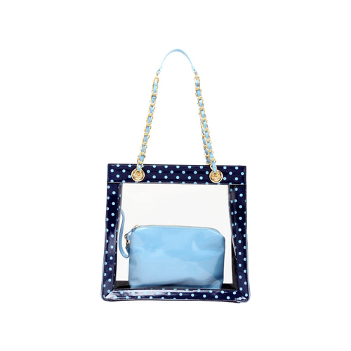 SCORE! Andrea Large Clear Designer Tote for School, Work, Travel - Navy Blue and Light Blue